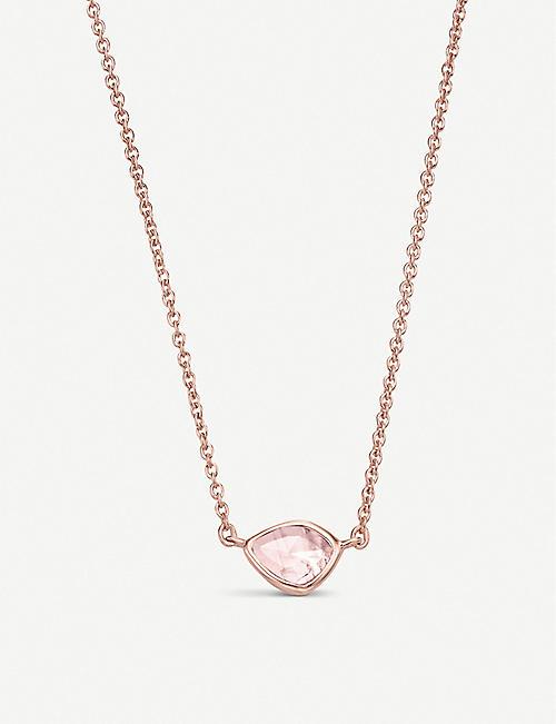 MONICA VINADER Siren Mini Nugget 18ct rose gold vermeil and rose quartz necklace
