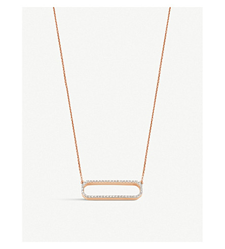 MONICA VINADER Naida open rectangle rose gold-vermeil and diamond necklace (Rose+gold