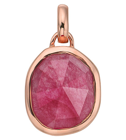MONICA VINADER Siren Medium 18ct rose gold-plated and pink quartz pendant