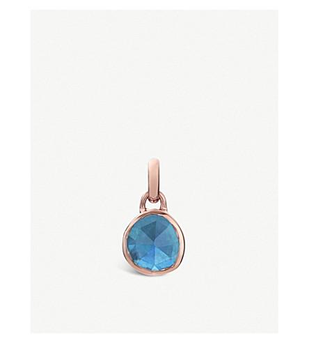 MONICA VINADER Siren mini 18ct rose-gold vermeil and kyanite bezel pendant (Blue