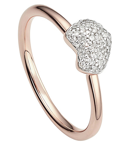 MONICA VINADER Nura 18ct rose-gold vermeil and diamond ring
