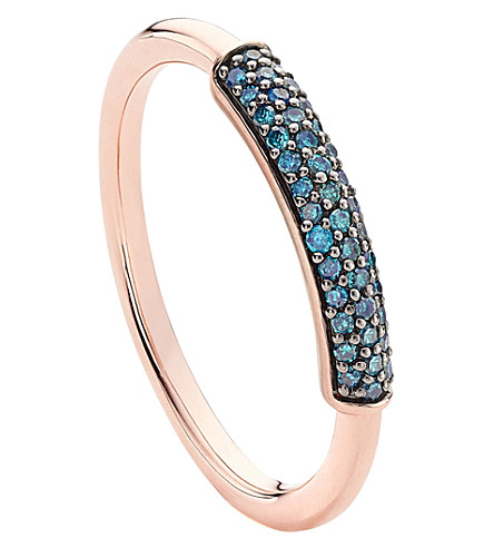 MONICA VINADER Stellar 18ct rose gold-plated vermeil and blue diamond stacking ring