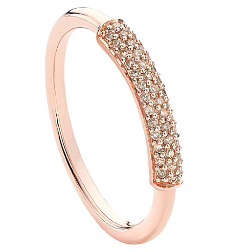 MONICA VINADER Stellar 18ct rose gold-plated and champagne diamond ring