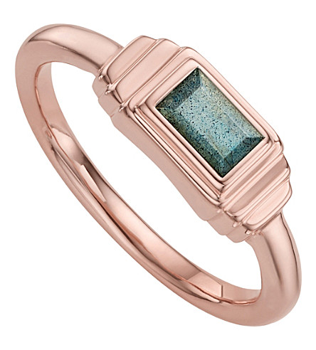MONICA VINADER Baja Deco 18ct Rose Gold and Labradorite Ring