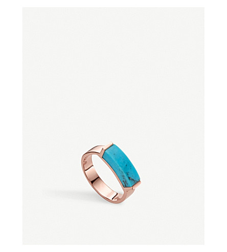MONICA VINADER Linear 18ct rose-gold vermeil and turquoise ring