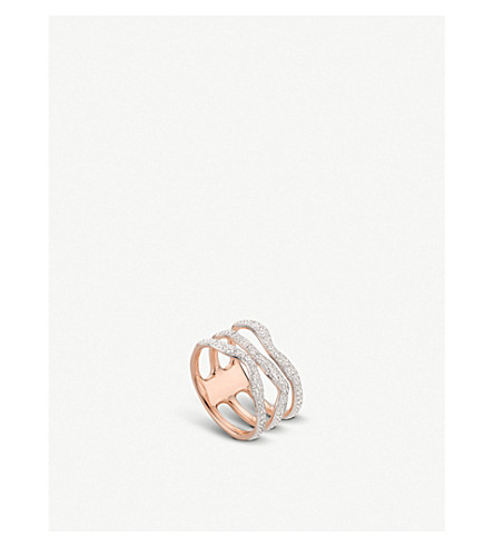 MONICA VINADER Riva wave rose-gold vermeil pavé diamond triple ring