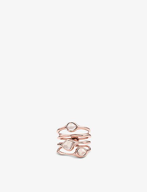 MONICA VINADER Siren Cluster 18ct rose-gold vermeil and rose quartz cocktail ring