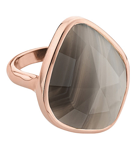 MONICA VINADER Siren 18ct rose gold vermeil and grey agate nugget ring