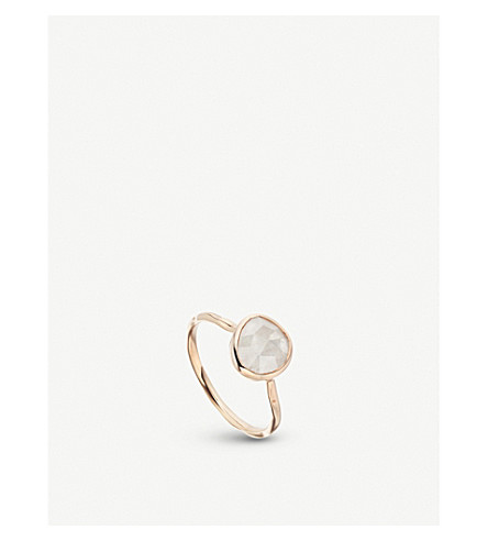 MONICA VINADER Siren 18ct rose-gold vermeil and moonstone stacking ring