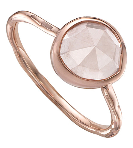 MONICA VINADER Siren rose-gold vermeil and rose quartz stacking ring