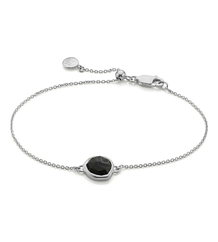 MONICA VINADER Siren sterling silver and black line onyx fine chain bracelet