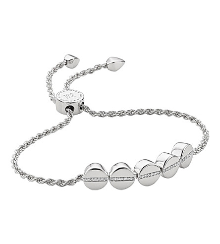MONICA VINADER Linear bead sterling silver and pavé diamond bracelet
