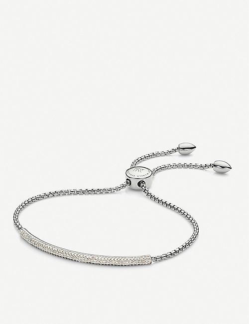 MONICA VINADER Fiji Mini Bar diamond and sterling silver bracelet