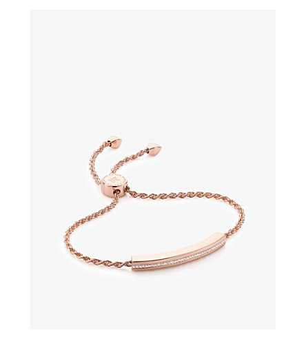 MONICA VINADER Linear rose-gold and pavé diamond bracelet