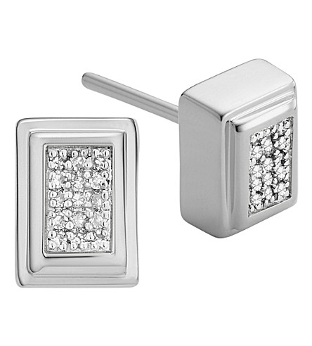 MONICA VINADER Baja Deco Sterling Silver and Diamond Earrings