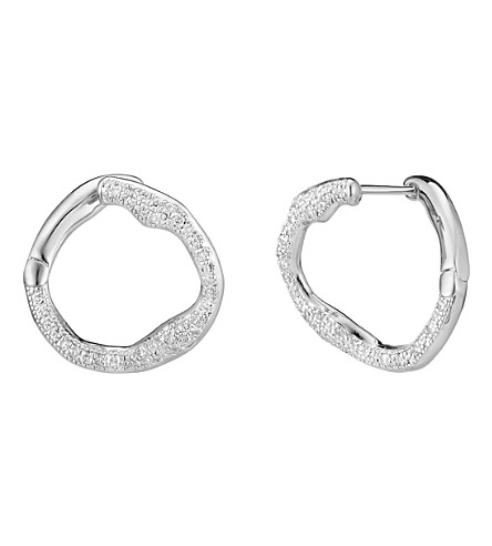 MONICA VINADER Riva Circle sterling silver and diamond earrings