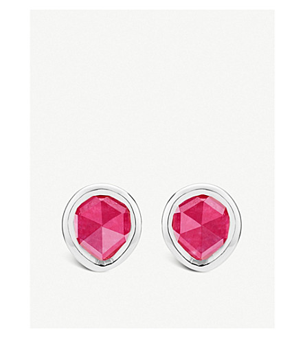 MONICA VINADER Siren mini sterling silver and pink quartz stud earrings (Pink