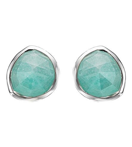MONICA VINADER Siren sterling silver amazonite stud earrings