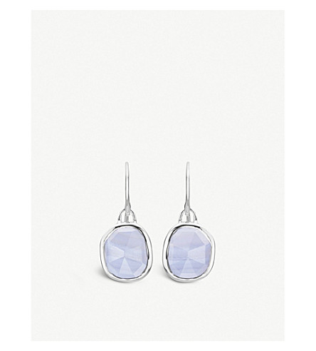 MONICA VINADER Siren sterling silver and blue lace agate wire earrings (Blue