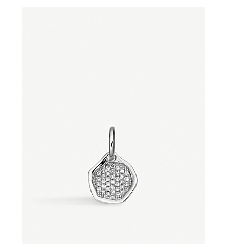 MONICA VINADER Riva sterling silver and diamond mini pendant
