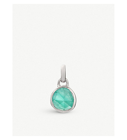 MONICA VINADER Siren mini sterling silver and amazonite bezel pendant (Green