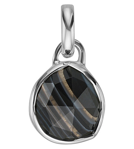 MONICA VINADER Siren Mini sterling silver and black line onyx pendant