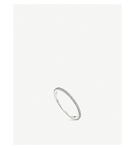 MONICA VINADER Skinny sterling silver and diamond eternity ring