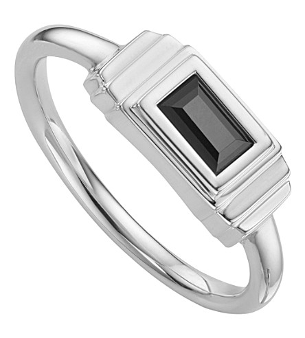 MONICA VINADER Baja Deco Sterling Silver and Onyx Ring
