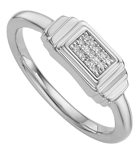 MONICA VINADER Baja Deco Sterling Silver and Diamond Ring