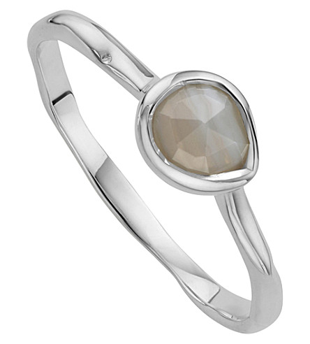 MONICA VINADER Siren sterling silver and grey agate small stacking ring