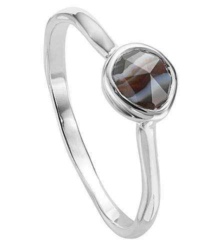 MONICA VINADER Siren sterling silver and black line onyx small stacking ring