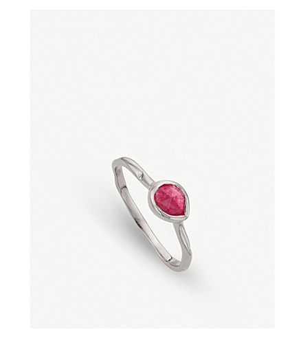 MONICA VINADER Siren sterling silver and pink quartz small stacking ring (Pink