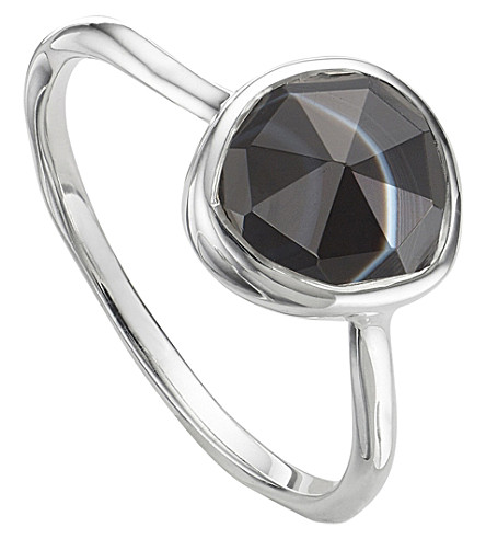 MONICA VINADER Siren sterling silver and black line onyx medium stacking ring