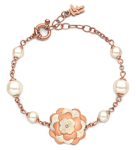 FOLLI FOLLIE Santorini Flower rose gold-plated and mother-of-pearl bracelet (Rose+gold