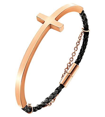 FOLLI FOLLIE Carma rose gold-plated woven bracelet (Rose+gold