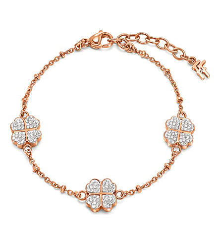 FOLLI FOLLIE Heart4heart clover charm bracelet (Rose+gold