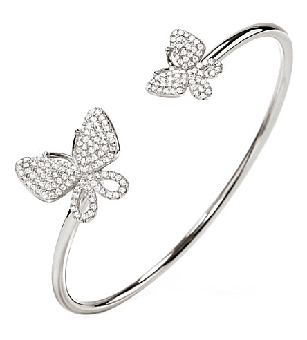 FOLLI FOLLIE Wonderfly rhodium-plated sterling silver bangle (Silver