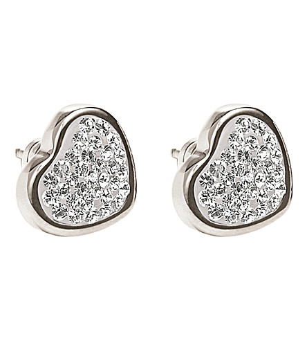 FOLLI FOLLIE Bling Chic sterling silver heart earrings (Silver
