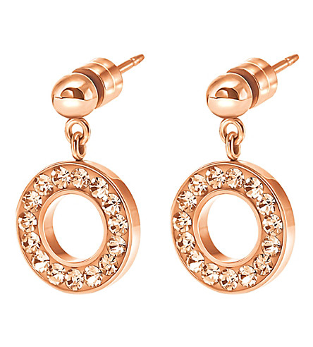FOLLI FOLLIE Classy rose gold-plated drop earrings (Rose+gold