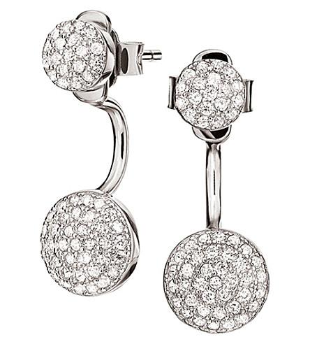 FOLLI FOLLIE Fashionably silver oval ear jacket studs (Silver