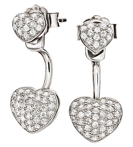 FOLLI FOLLIE Fashionably silver heart ear jacket studs (Silver