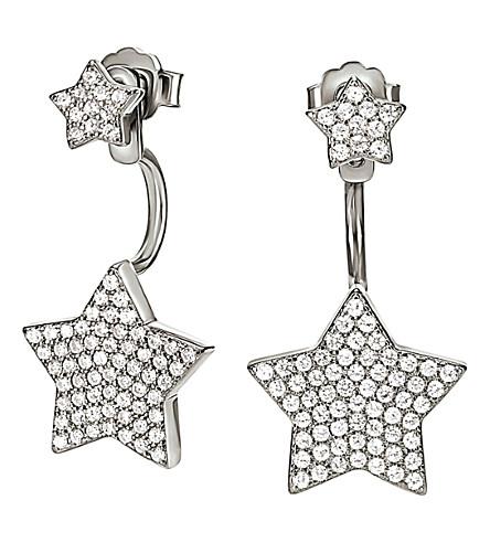 FOLLI FOLLIE Fashionably silver star ear jacket studs (Silver