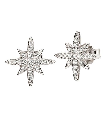 FOLLI FOLLIE Fashionably silver snowflake earrings (Silver