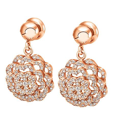 FOLLI FOLLIE Santorini Flower Sparkle rose gold-plated drop earrings (Rose+gold