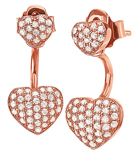 FOLLI FOLLIE Fashionably rose gold-plated heart ear jacket studs (Rose+gold