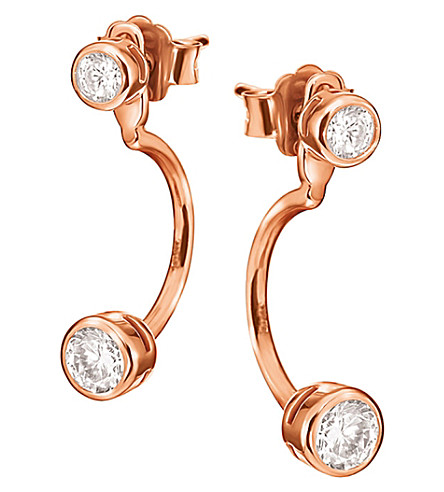 FOLLI FOLLIE Fashionably rose gold plated mini-oval ear jacket studs (Rose+gold