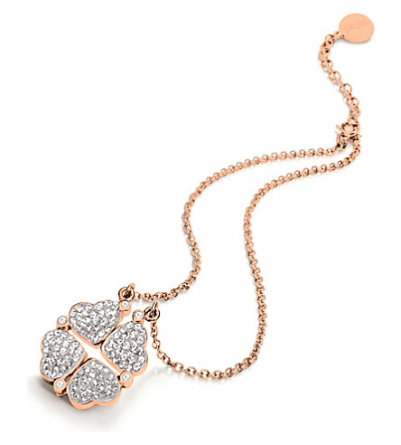 FOLLI FOLLIE Heart4heart magnetic rose gold-plated crystal necklace (Rose+gold