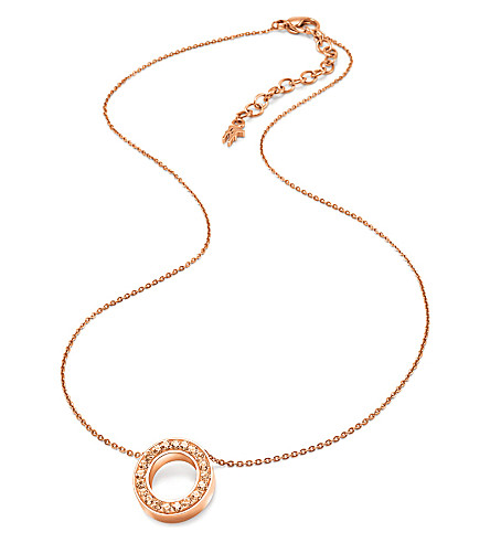 FOLLI FOLLIE Classy short charm necklace (Rose+gold