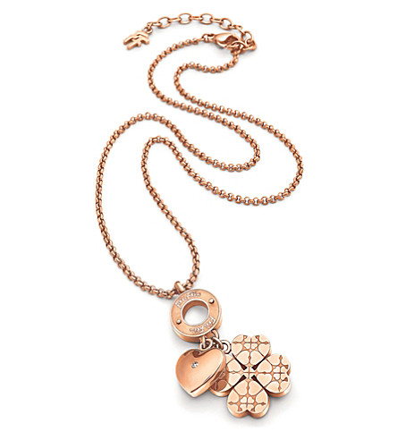 FOLLI FOLLIE Heart4heart Sweetheart rose gold-plated necklace (Rose+gold