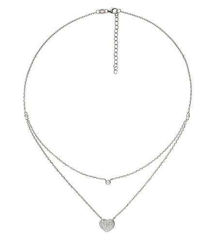 FOLLI FOLLIE Fashionably love hearts sterling silver necklace (Silver